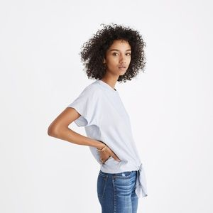 Madewell Button Back Tie Tee In Stripe